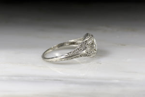 Ornate Edwardian / Art Deco Engagement Ring with an Old European Cut Diamond Center