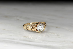 Victorian Six-Prong Buttercup Engagement Ring with Deep-Relief Engraving