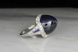 Art Deco Platinum and Diamond Ring with the Original Lab Sugarloaf Sapphire