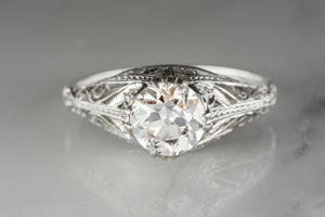 1.28 Carat Old European Cut Diamond in Platinum Edwardian / Art Deco Engagement Ring with Single Cut Diamond Accents