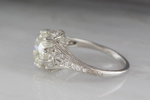 2.55 Carat Old European Cut Diamond High-Edwardian Platinum Engagement Ring with .50ctw Diamond Accents