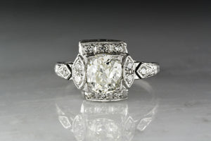 Antique Edwardian, Art Deco Old Mine Cut Diamond and Platinum Engagement Ring