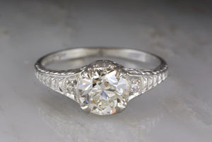 1.30ct Platinum Edwardian / Early Art Deco Old European Cut Diamond Engagement Ring with Single Cut Diamond Accents