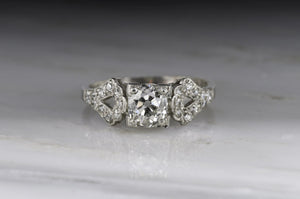 c. 1920s-1930s Edwardian / Art Deco Old Mine Cut Diamond Engagement Ring