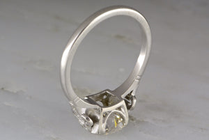 2.08ctw  Late Edwardian / Early Art Deco Platinum Engagement Ring with 2.00ct Old Mine / Old European Cut Center