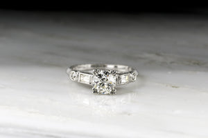 Late Art Deco .80 Carat Old European Cut Diamond Engagement Ring