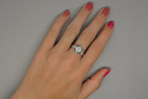 2.25ctw Edwardian / French Regal Platinum Engagement Ring with 1.50 Cart Old European Cut Diamond Center