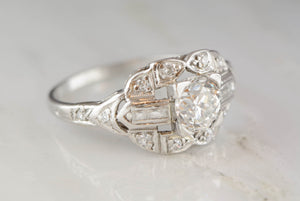 Edwardian / Art Deco Platinum .70ctw Engagement Ring with a .50ct Old Mine Cut Diamond Center