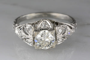 .90ctw Edwardian / Pre- Art Deco .75ct  Old European Cut Diamond Engagement Ring with Single Cuts