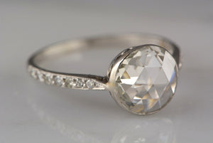 1.51ctw Art Deco / Mid-Century 1.31ct Bezel Set Rose Cut Diamond Engagement Ring in Platinum with .20ctw Single Cuts