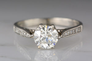 .95 Carat Old European Cut Diamond in Edwardian / Art Deco Platinum Engagement Ring