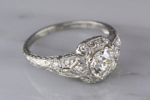 1.62ctw Edwardian Platinum Engagement Ring with 1.07ct VVS-VS Old European Cut Diamond and .55ctw Single Cuts
