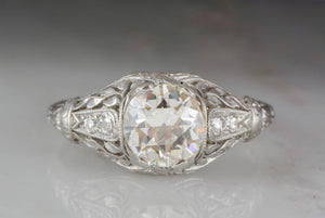 1.30 Carat Old European Cut Diamond and Platinum Art Nouveau / Edwardian Engagement Ring with Single Cut Diamond Accents