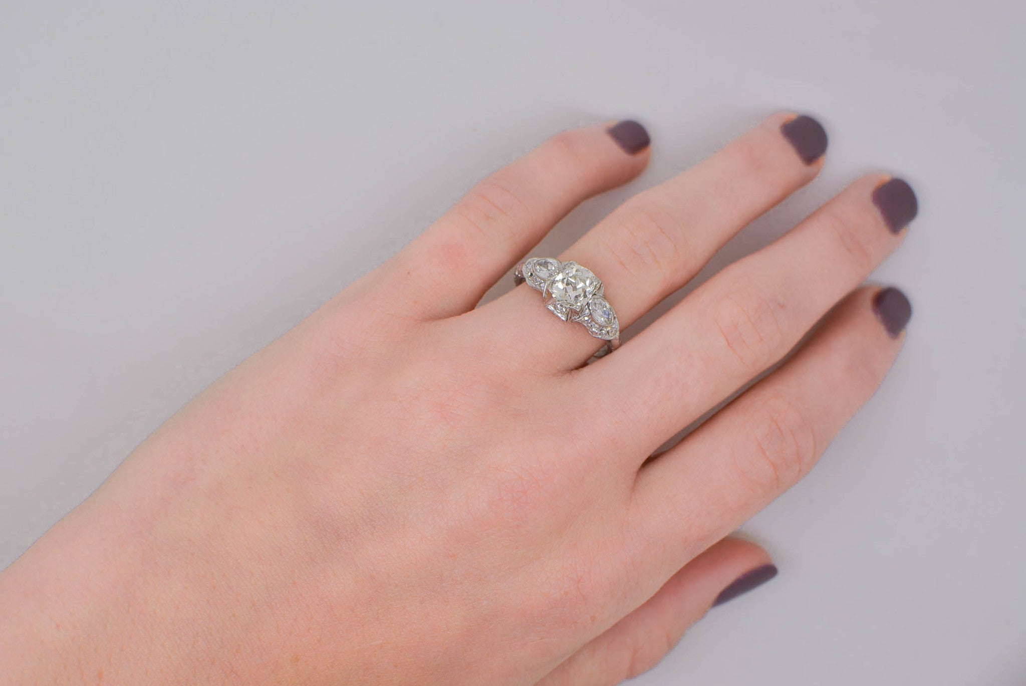 2.15ctw Platinum Edwardian Engagement Ring with a 1.42ct Old Mine ...