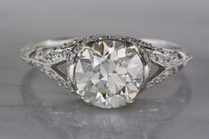 1.79 Carat GIA Certified Old European Cut Diamond High-Edwardian Engagement Ring with 1.00 ctw Old Euro Accent Diamonds