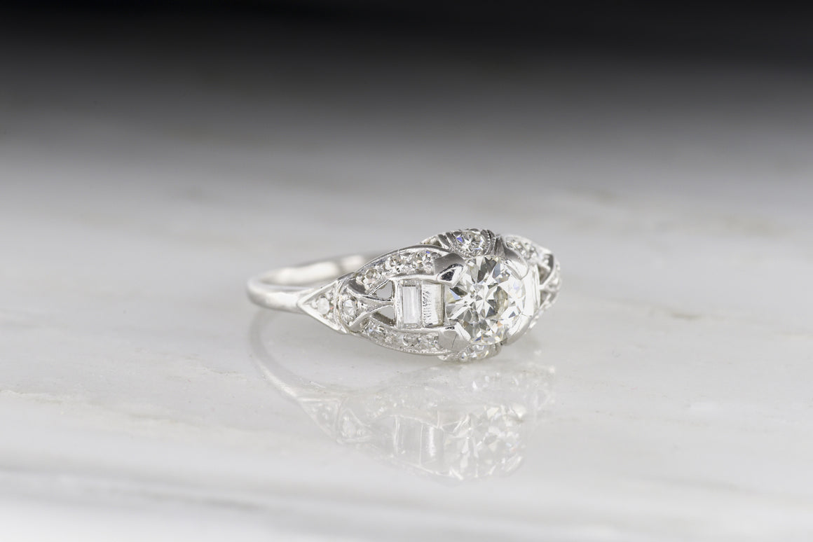 Art Deco / Early Retro Old European Cut Diamond Engagement Ring