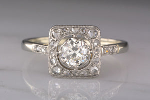 Early Art Deco Old European Cut Diamond and Platinum Engagement Ring with Rose Cut Accents