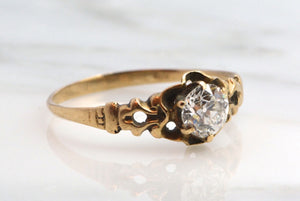 .65 Carat Victorian Old European Cut Diamond Solitaire Buttercup Engagement Ring in 18K Gold