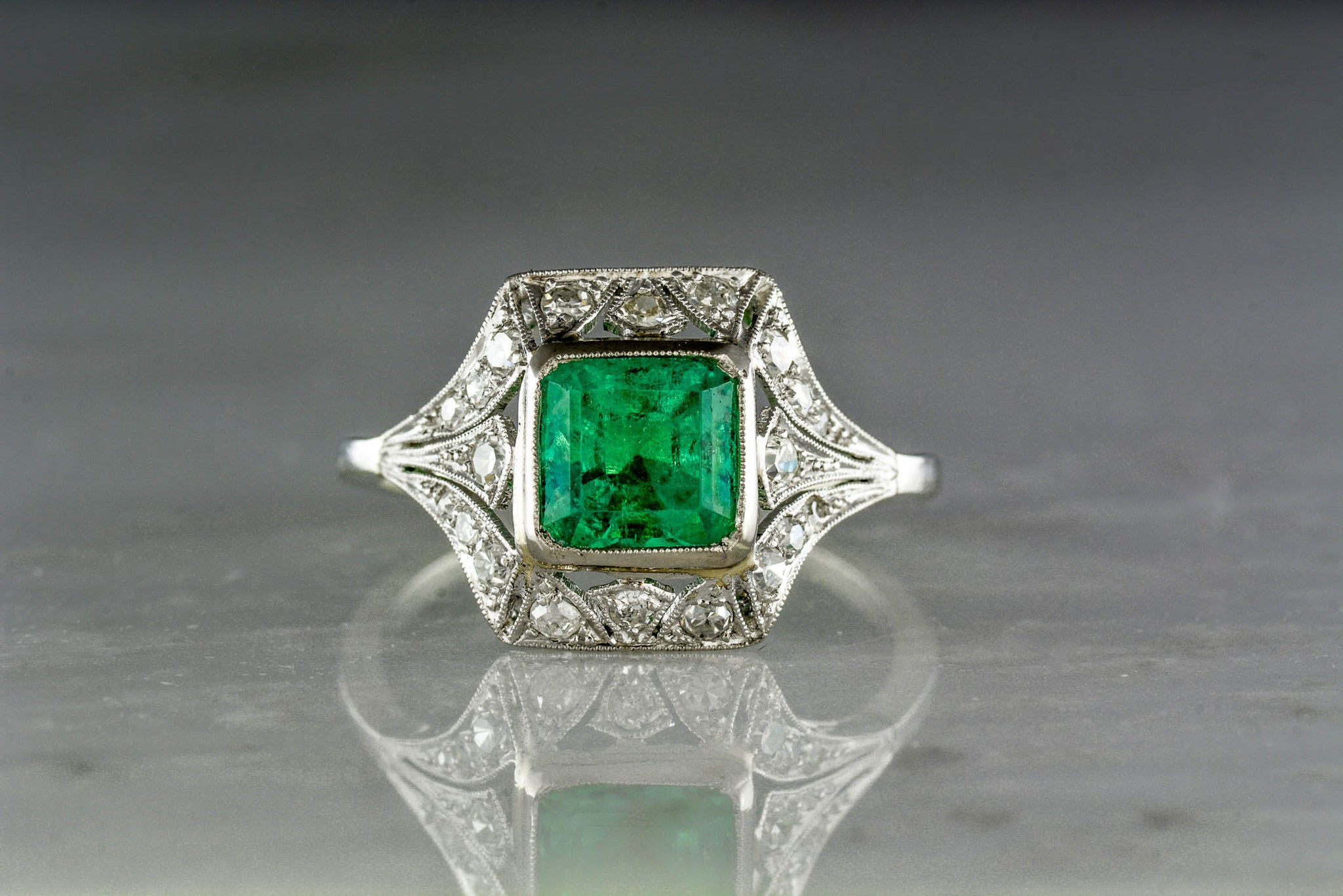 emd palladium ring gold cluster products platinum engagement cut emerald