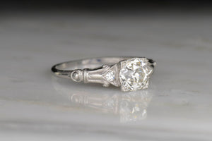 Art Deco Engagement Ring with Roman / French Regal Shoulders