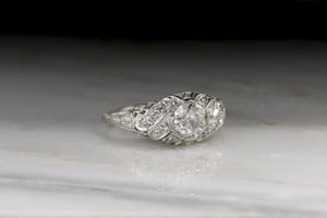 Edwardian, Early Art Deco Engagement Ring in Platinum with Old Mine Cut Cut Diamond; Filigree; Engraving R664