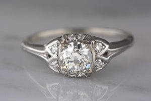 .55 Carat Old European Cut Diamond in Edwardian / Art Deco White Gold Engagement Ring with and Single Cut Accents
