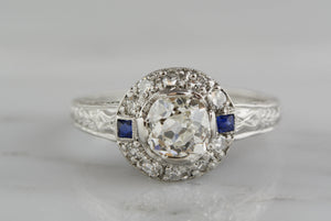 .95 Carat Old Mine Cushion Cut Diamond Edwardian / Art Deco Engagement Ring with .35ctw Single Cut Diamonds and Sapphire Accents