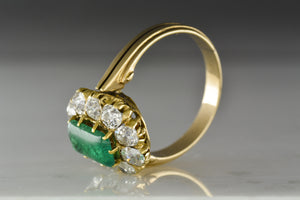 Antique Victorian Rectangular Cabochon Cut Colombian Emerald in Rose Gold with Old Mine Cut Diamonds