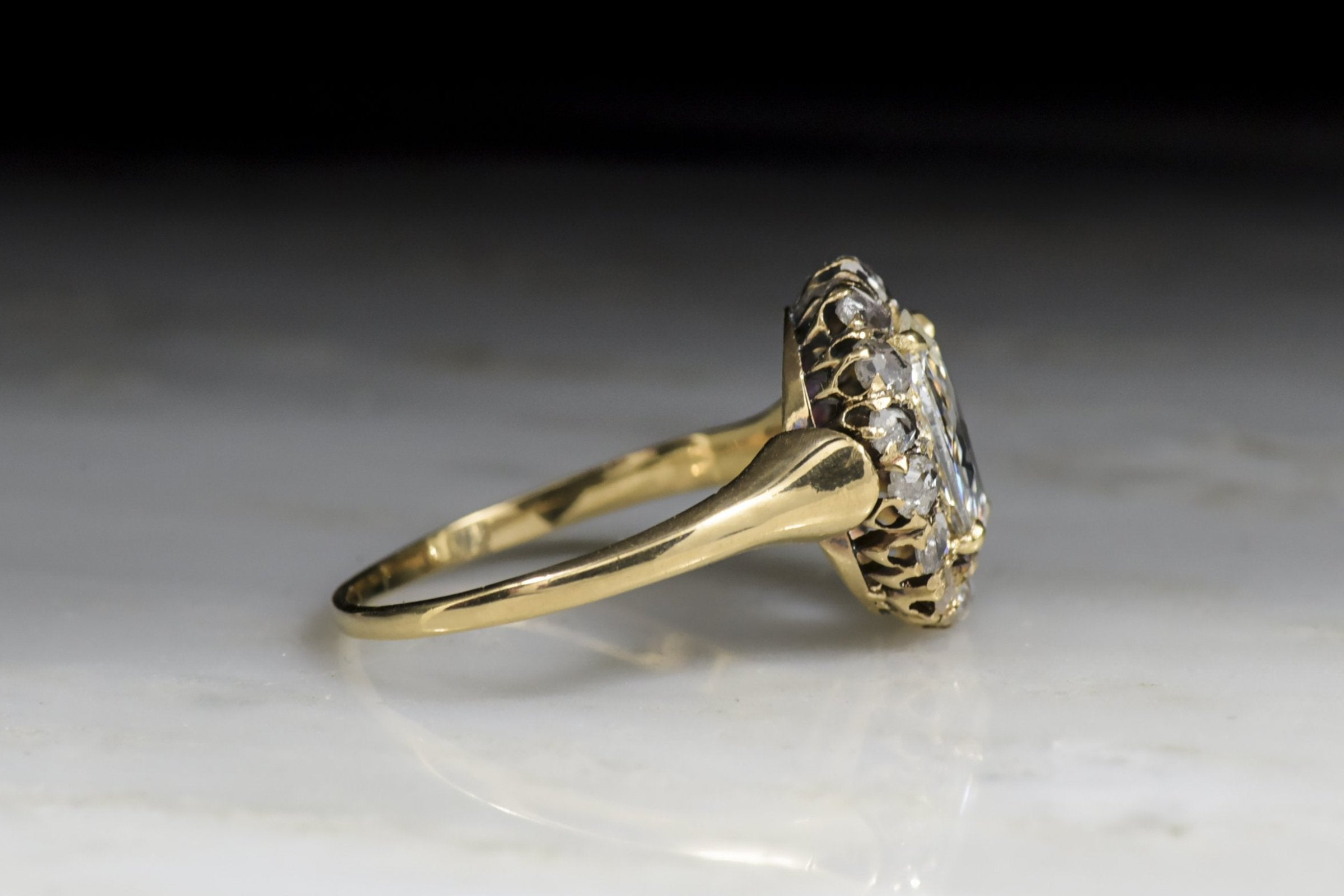 Antique Victorian Cluster Engagement Ring with Oval Rose Cut