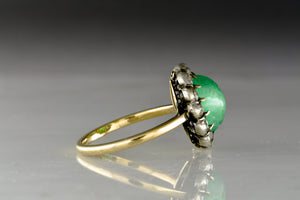 Antique Late Georgian / Early Victorian Cluster Ring with Cabochon Cut Colombian Emerald Center