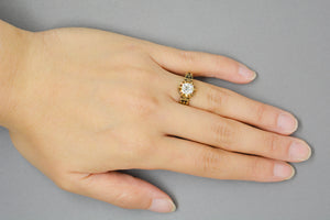 1.10 Carat Old Mine Cushion Cut Diamond in Victorian 14K Yellow Gold Buttercup Mount with Black Enamel