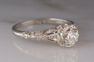 1.17ctw Birks Edwardian Platinum Engagement Ring with .92ct Old European Cut Diamond