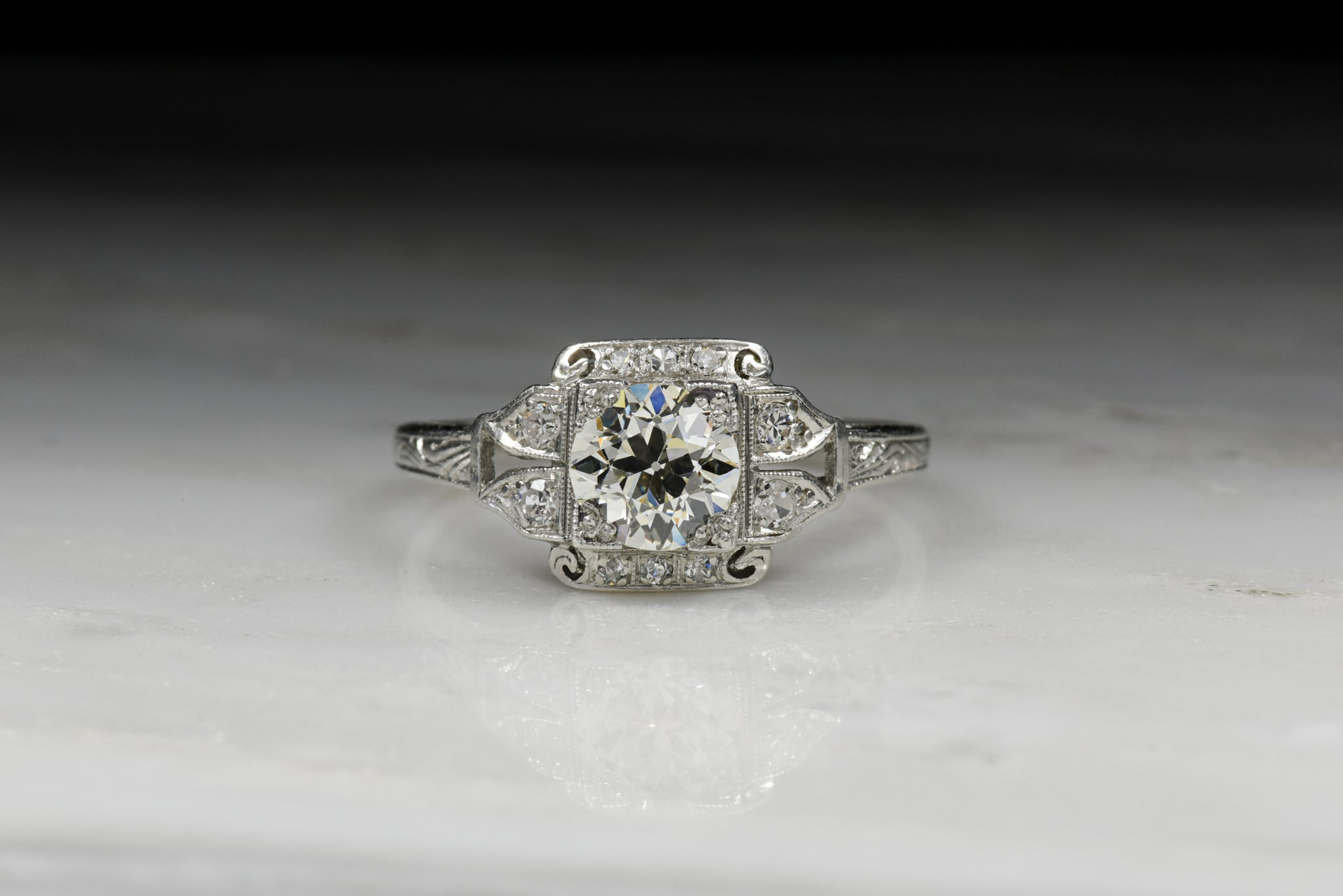 bf637566134be Vintage Edwardian   Art Deco Engagement Ring  Old European Cut ...