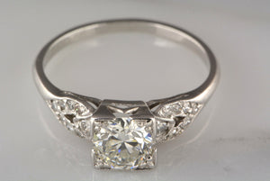 .95ctw Early 1920s Late Edwardian / Art Deco .82ct Old European Cut Diamond and Platinum Engagement Ring with Single Cut Accents