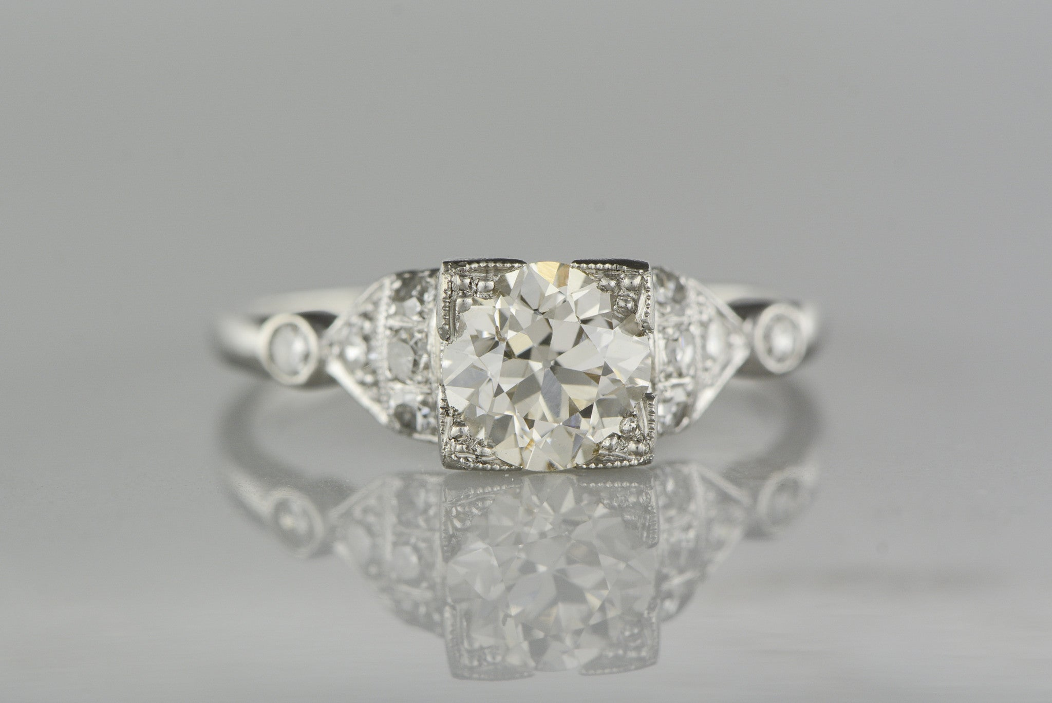 band engagement or tapered palladium platinum diamond with in bezel gold products ring a carat classic solitaire square