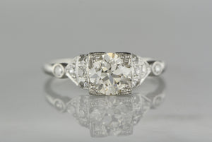 Antique .85 Carat Old European Cut Diamond in c. 1920 Art Deco / Late-Edwardian Platinum Engagement Ring with .35 Carats Diamond Accents (1.20 ctw)