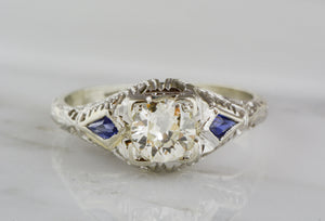 .65ct Edwardian / Art Deco Old European Cut Diamond and White Gold Engagement Ring with Sapphire Accents