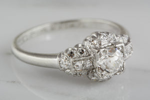 .75 ctw Platinum Engagement Ring with .40ct Old Mine Cut Diamond and .35ctw Single Cut Diamond Accents