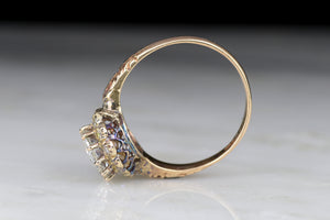 Victorian Old European Cut Diamond Halo Engagement Ring in Rose Gold
