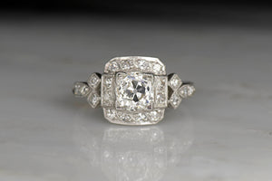 Early Art Deco Engagement Ring with a Box-Set Old Mine Cut Diamond and Geometric Shoulders