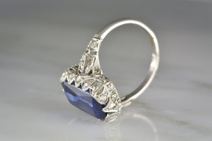 French Edwardian Platinum Ring with an Emerald/Scissor Cut Created Sapphire and .50 ctw Rose Cut Diamonds