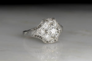 c. 1910s-1920s Ornate Edwardian Engagement or Anniversary Ring