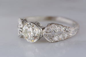 Rare Marcus and Co. Antique Platinum Edwardian Engagement Ring with GIA Certified 1.16 Carat Old European Cut DiamondCenter R860