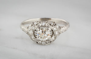 High Edwardian Platinum Engagement Ring with Old European Cut Diamond Center