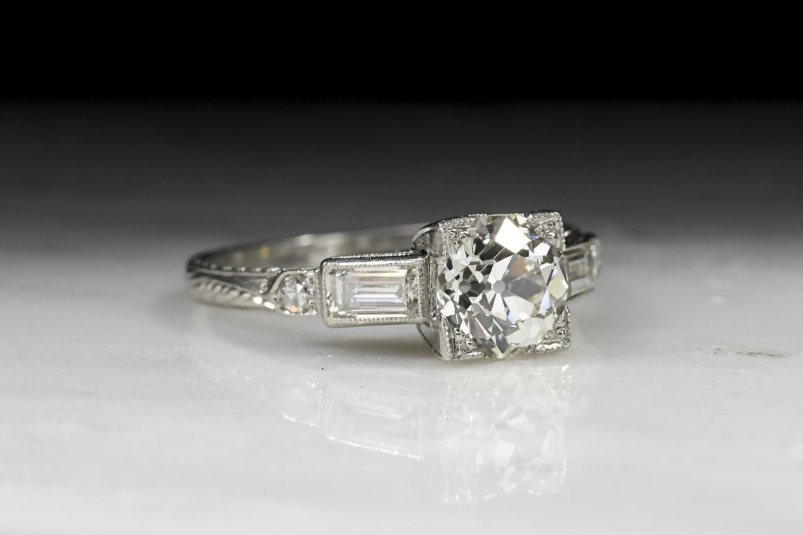 Vintage Art Deco GIA Certified Old European Cut Diamond Engagement Ring