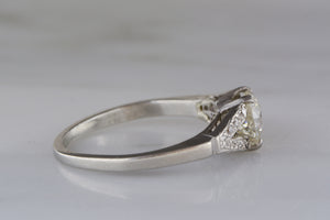.80 Carat Transitional Old Mine / Old European Cut Diamond in Edwardian / Art Deco Split Shank Platinum Engagement Ring with .15 ctw Diamond Accents