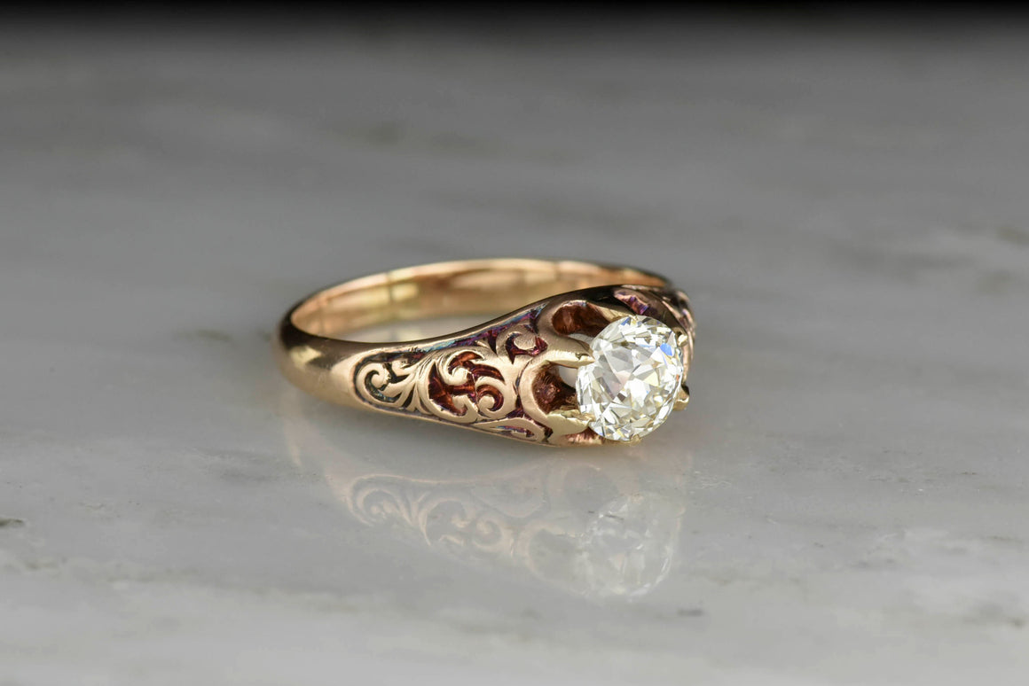 Victorian Belcher Mount with a GIA Old European Cut Diamond