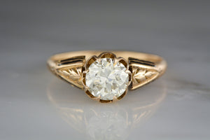 .90 Carat Old European Cut Diamond in 18K Rose Gold Victorian Engagement Ring with Black Enamel and a Buttercup Setting