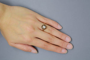 .75 Carat Old Mine Cushion Rectangle Cut Diamond in Open Buttercup Rose Gold Victorian Engagement Ring with Diamond Halo