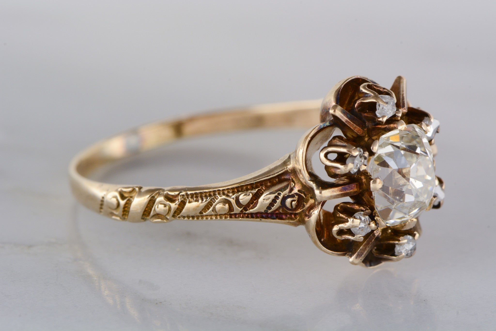 75 Carat Old Mine Cushion Rectangle Cut Diamond In Open Buttercup Rose  Gold Victorian Engagement Ring With Diamond Halo